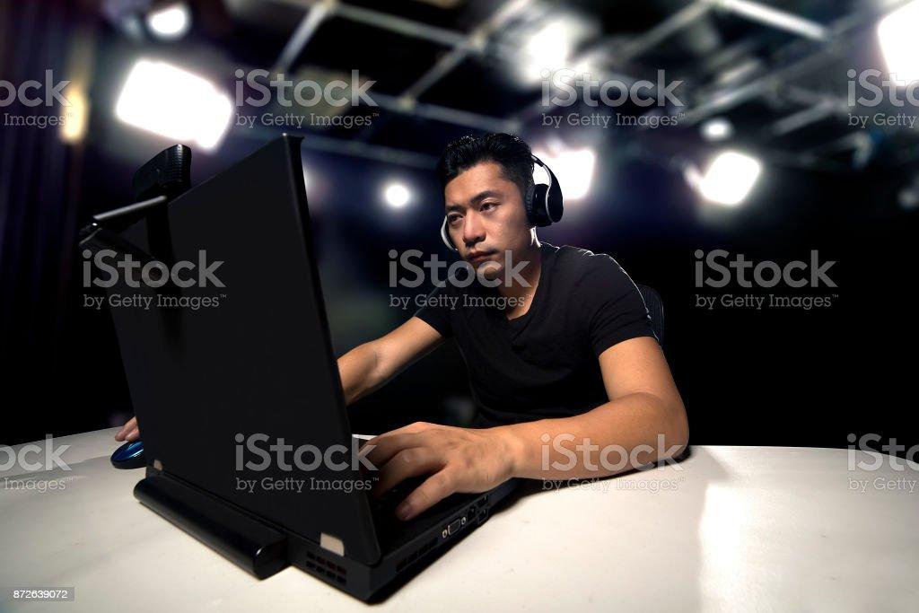 eSports Competitive Gamer in a Studio stock photo