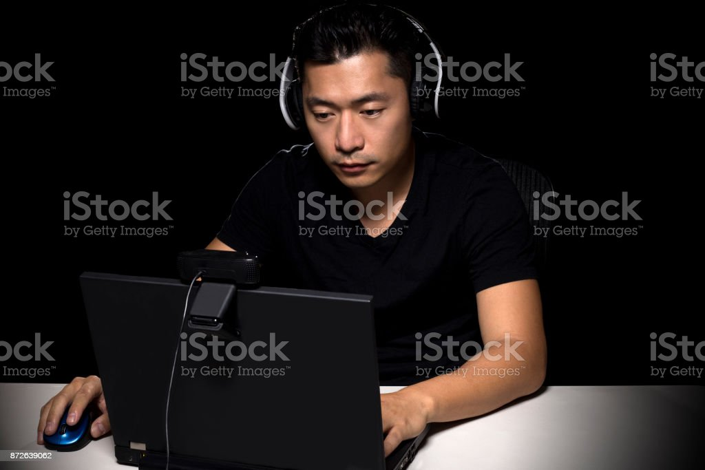 eSports Competitive Gamer on a Black Background stock photo