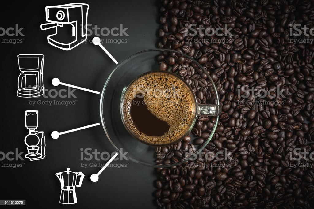 espresso and coffee maker icon stock photo