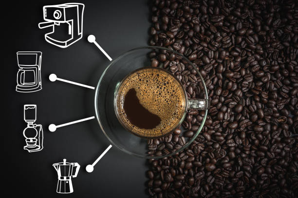 espresso and coffee maker icon - coffee maker stock pictures, royalty-free photos & images