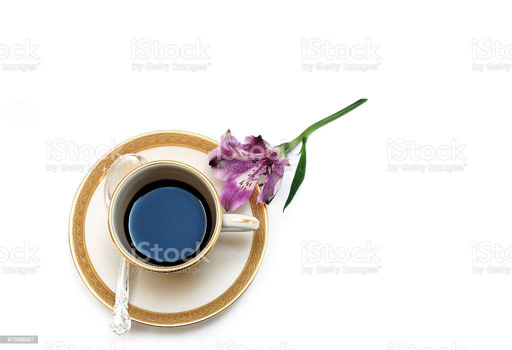 Espresso and Purple Flower royaltyfri bildbanksbilder