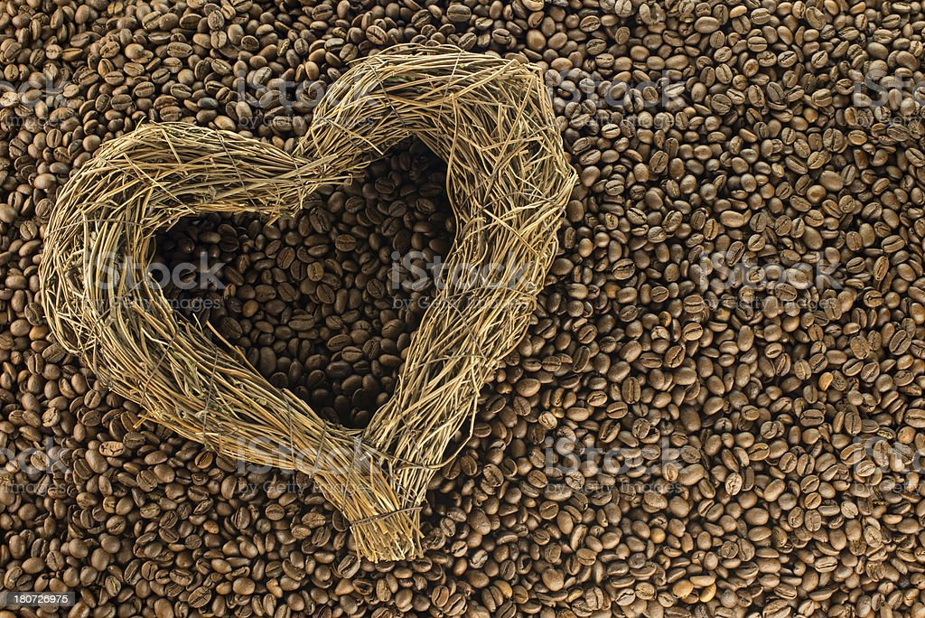 Espresso beans Heart royalty-free stock photo
