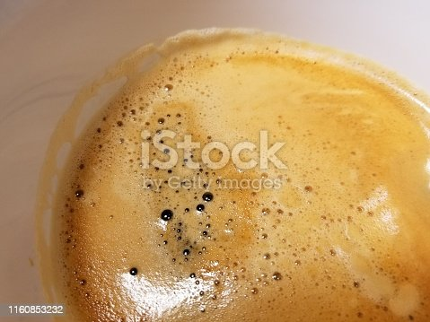 Close-up of espresso coffee crema in a light porcelain cup, July 8, 2019