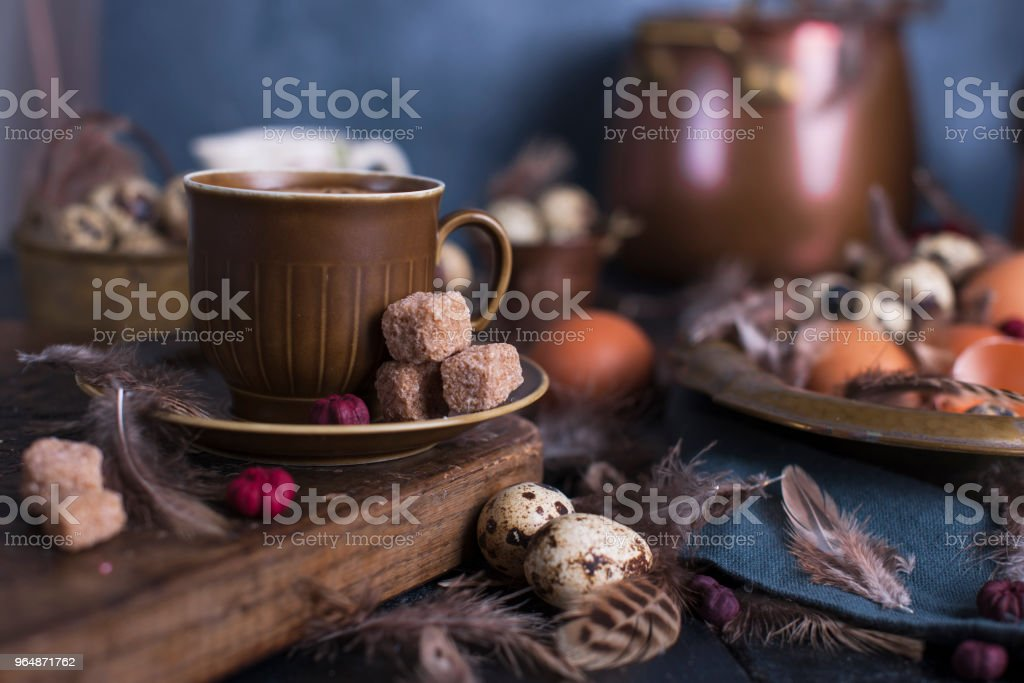 Espresso coffee and a vintage coffee pot and brown sugar. royalty-free stock photo