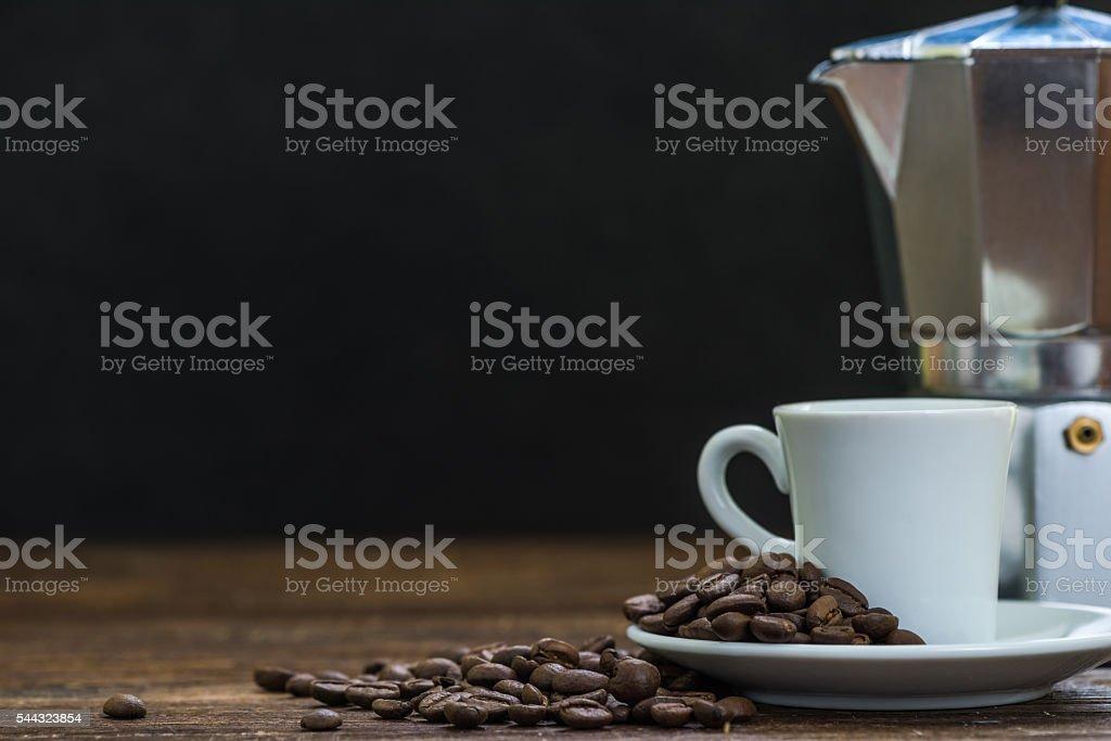 espresso coffee and moka pot stock photo