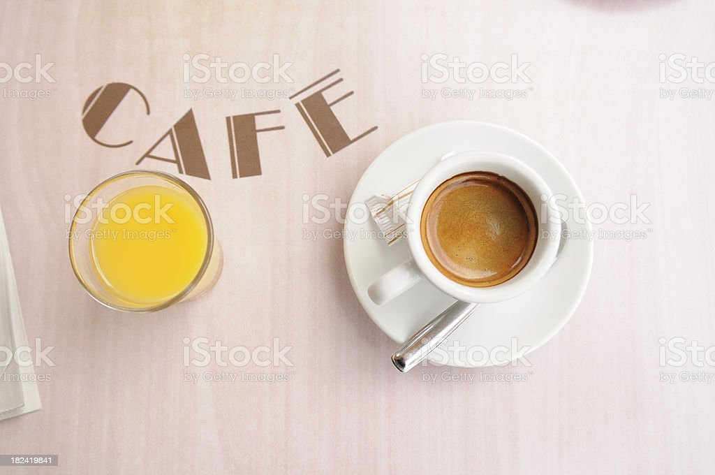 Espresso Coffee and Orange Juice royalty-free stock photo