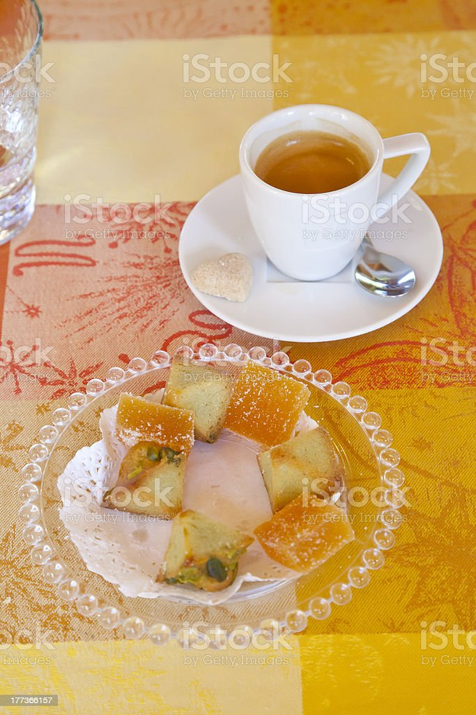 Espresso Coffee and Sweet Cakes. stock photo