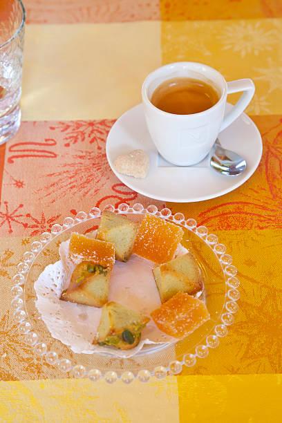 Espresso Coffee and Sweet Cakes. stock photo