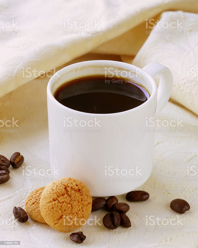 Espresso coffee cup with amaretti biscuits stock photo