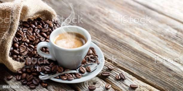 Coffee Breakfast With Grain And Jute Sack