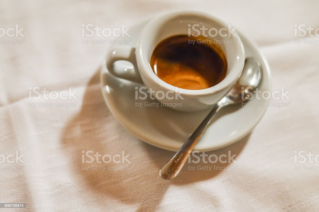 espresso coffee in a white cup close up royalty-free stock photo