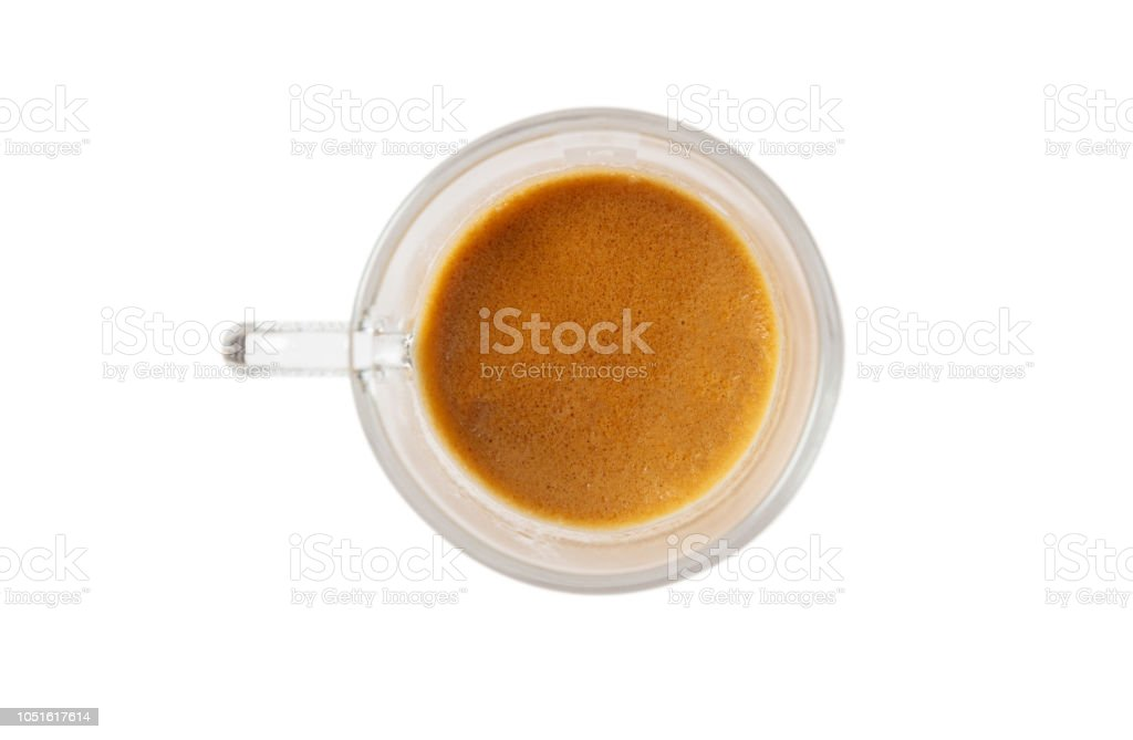 Espresso Coffee Isolated On A White Background Top View