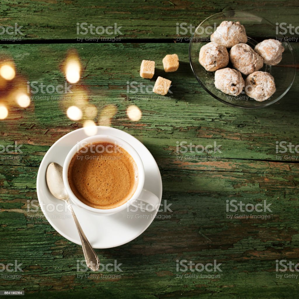 Espresso coffee on shabby wooden table royalty-free stock photo