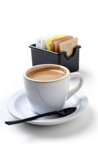 espresso coffee - sweeteners stock photos and pictures
