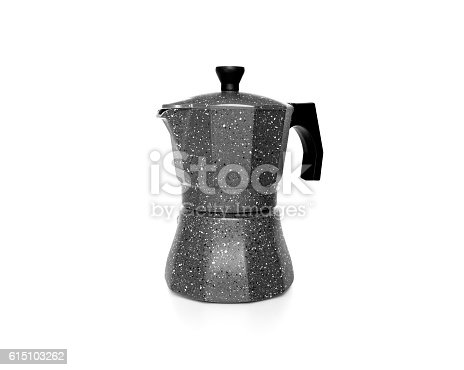 An Espresso coffee pot isolated on white background.