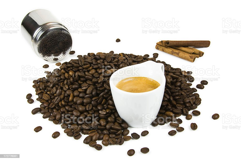 Espresso coffee preparation royalty-free stock photo