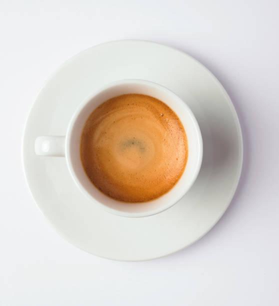 espresso-kaffeemaschine-draufsicht - mokkatassen stock-fotos und bilder