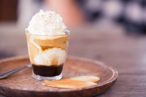 Espresso Con Panna, background concept. stock photo
