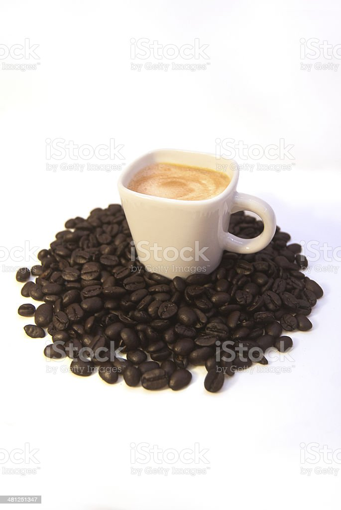 Espresso cup on coffee beans stock photo