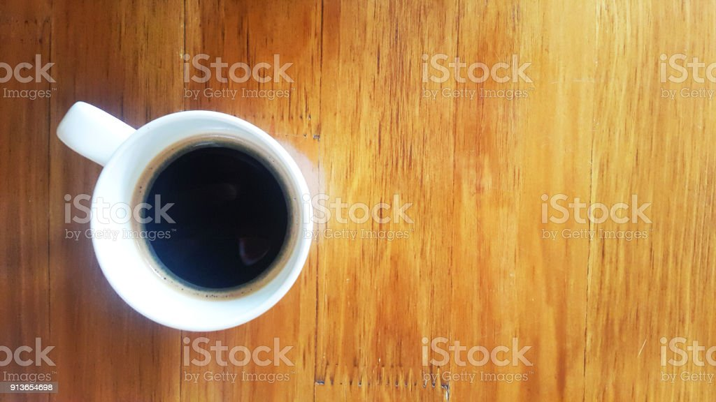Espresso hot coffee white cups on woode table backgrounds above stock photo