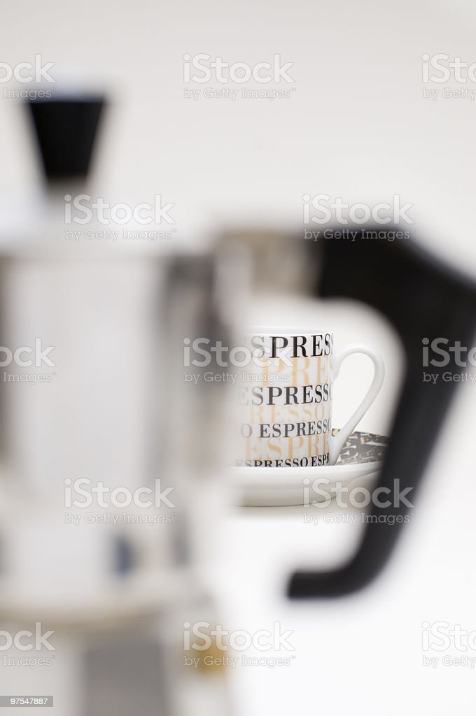 espresso jug in front royalty-free stock photo