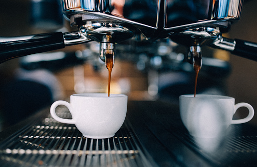 Espresso machine making a cup of coffee