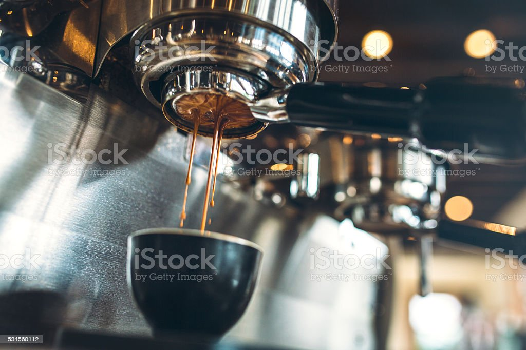 Espresso Machine Pulling a Shot stock photo