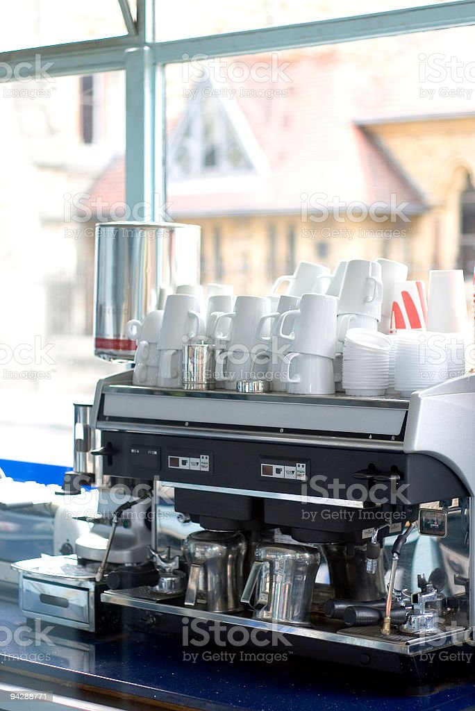 Espresso machine with cups royalty-free stock photo