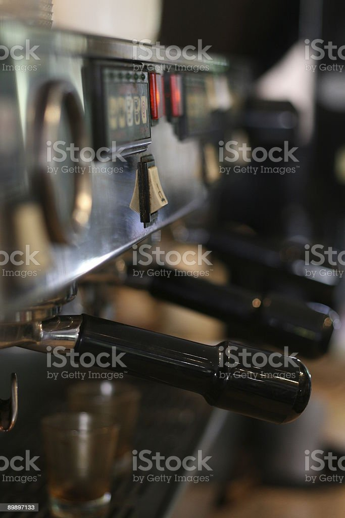 espresso machine with shotglasses royalty-free stock photo