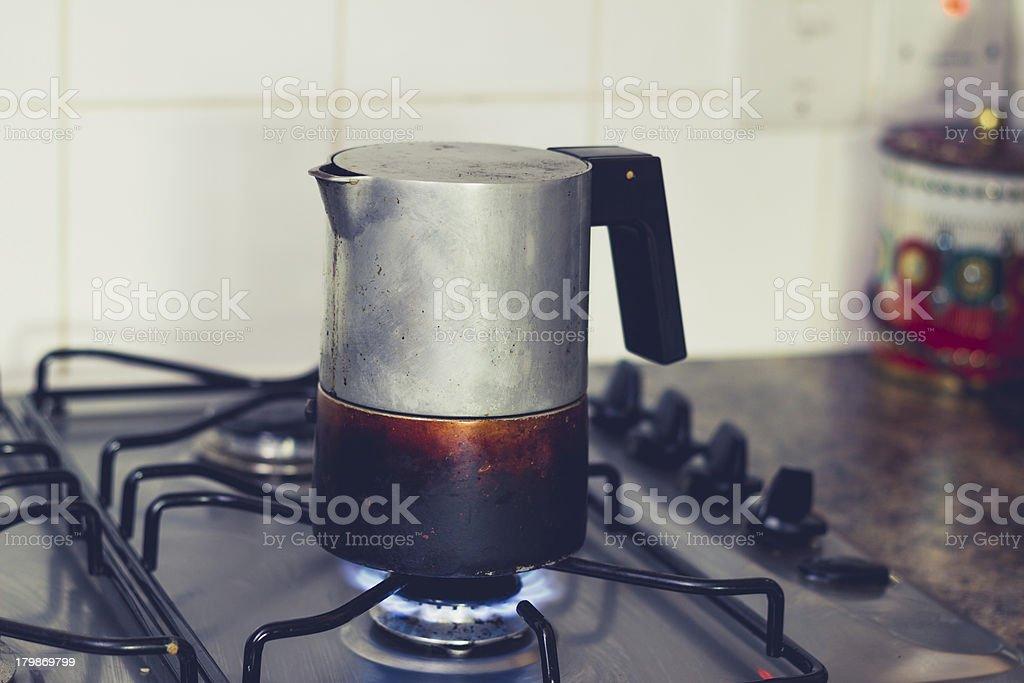 Espresso Maker on stove stock photo