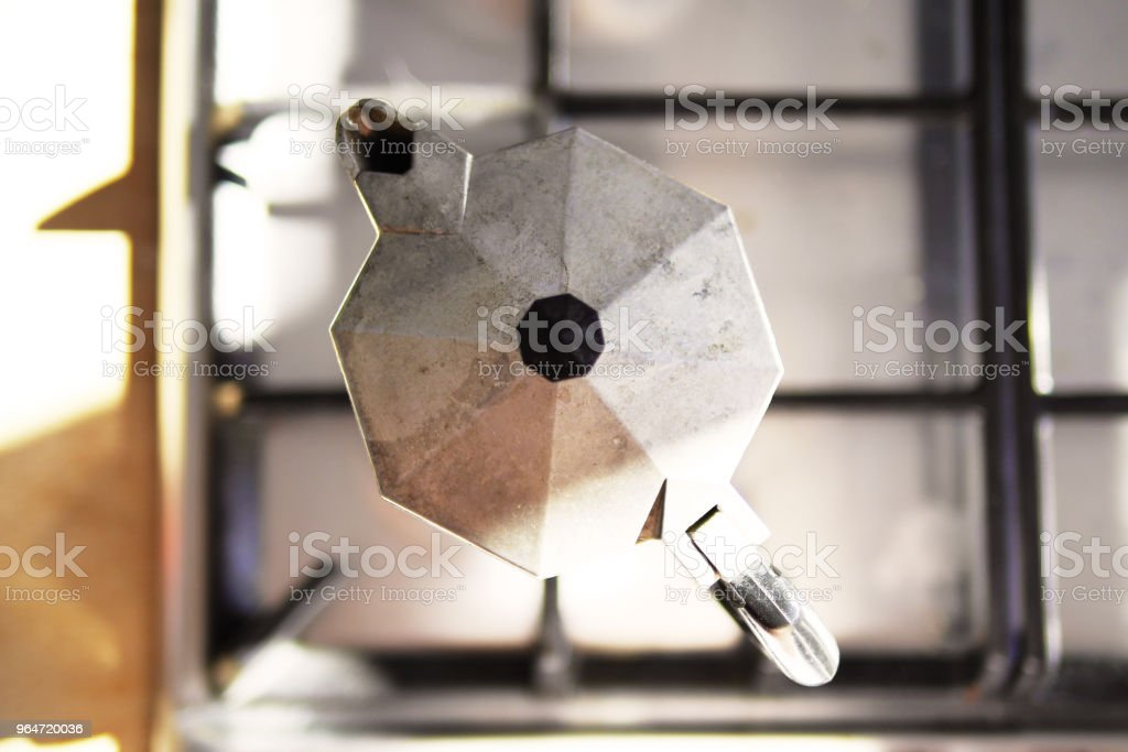 Espresso Maker on Stovetop Overhead Shot royalty-free stock photo