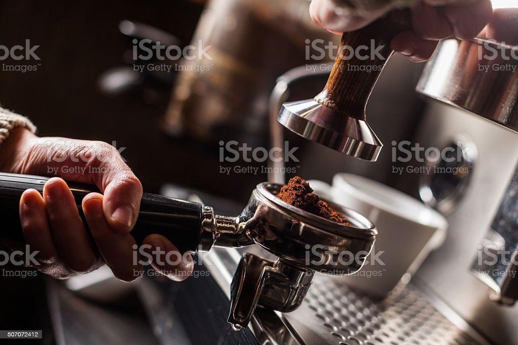 Espresso making machine stock photo
