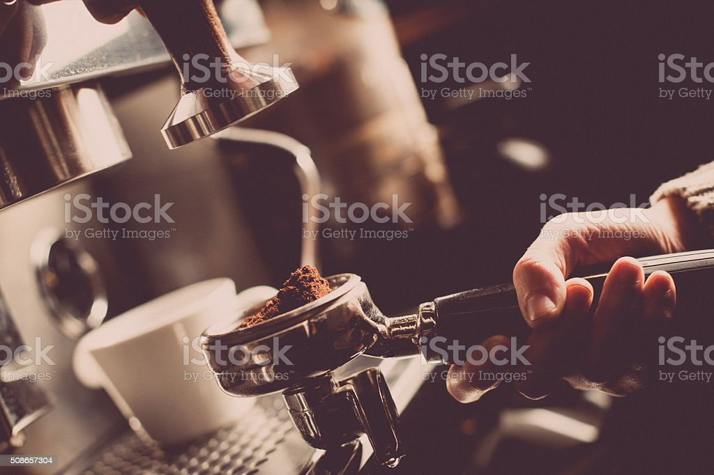 Espresso making machine stock photo