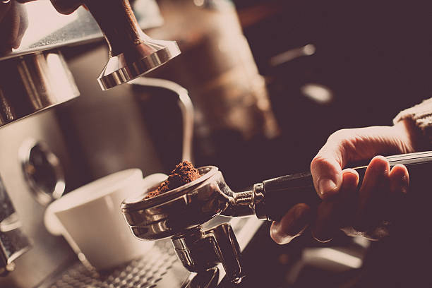 espresso making machine - barista stock photos and pictures