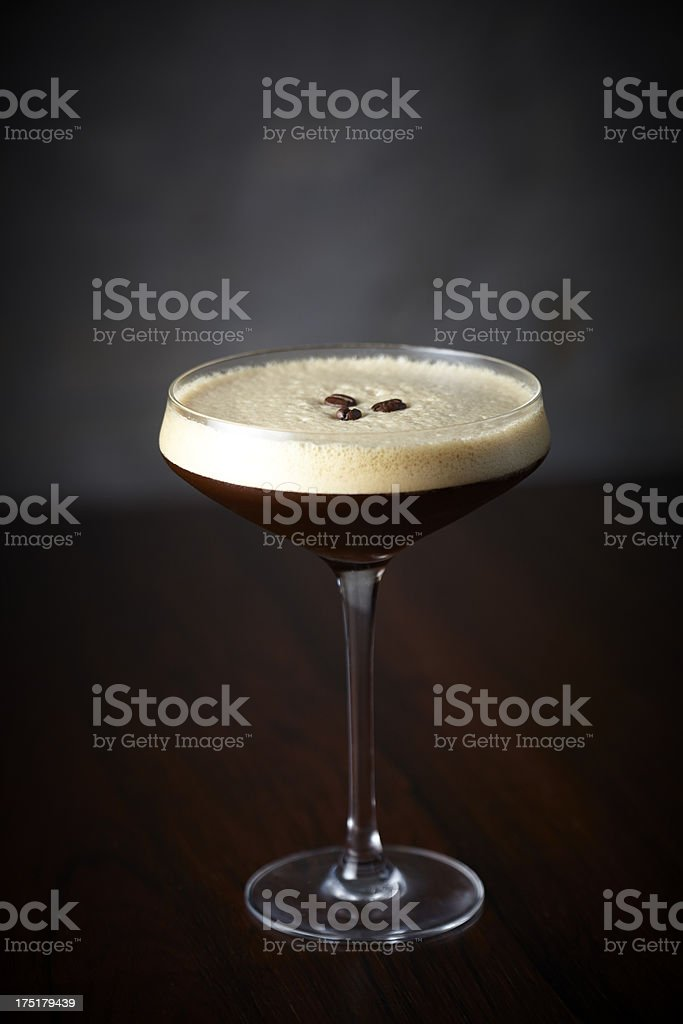 Espresso Martini cocktail on bar stock photo