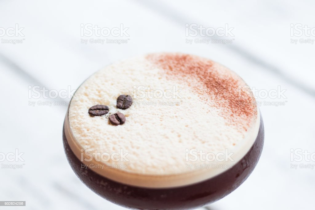Espresso martini cocktail trendy drink coffee stock photo