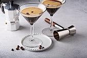 Espresso martini in two glasses, coffee cocktail concept