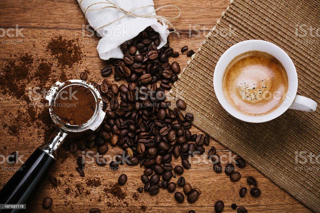 Espresso auf einem Holztisch - Lizenzfrei 2015 Stock-Foto