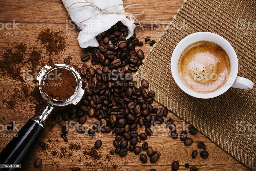 Espresso on a wooden table stock photo