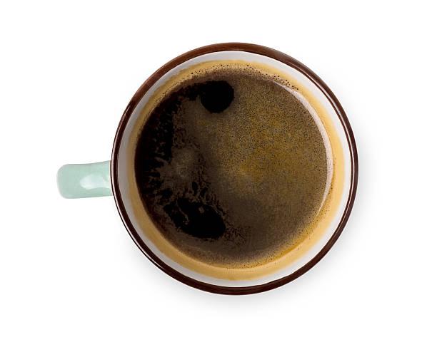 Espresso or americano, black coffee cup above on white background stock photo
