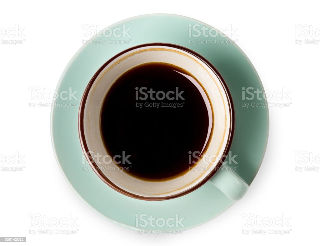Espresso or americano, black coffee cup above on white background stock photo