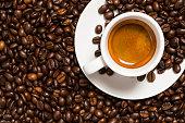 cup of hot espresso with crema