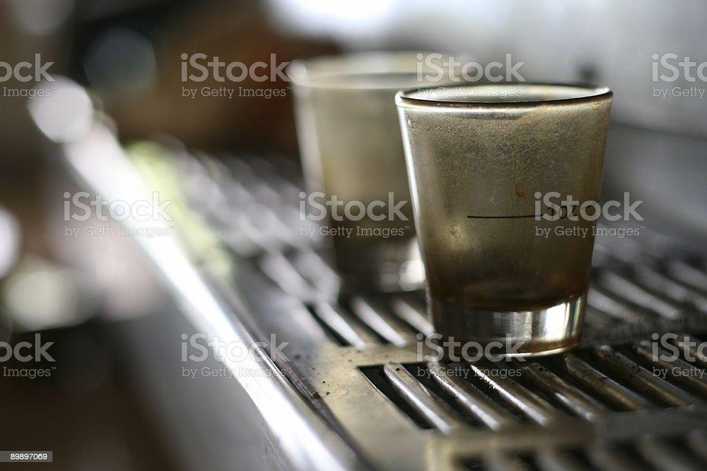 espresso shotglasses closeup 2 stock photo