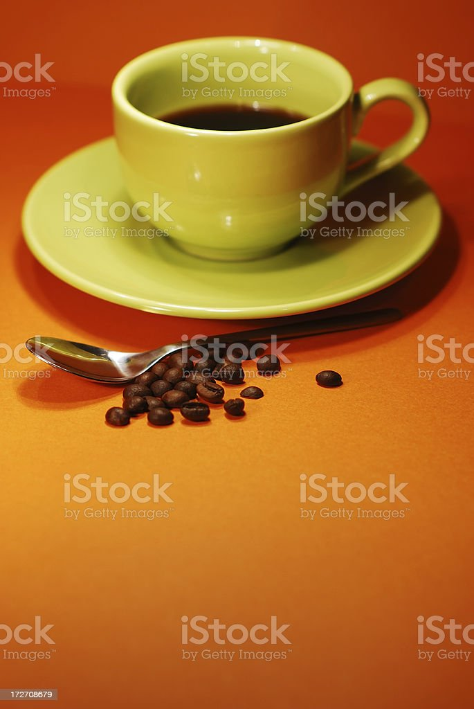 espresso, spoon and coffee beans royalty-free stock photo
