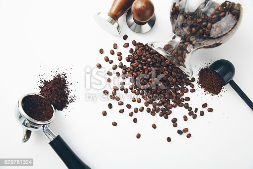 istock Espresso spoon and coffee beans 629781324