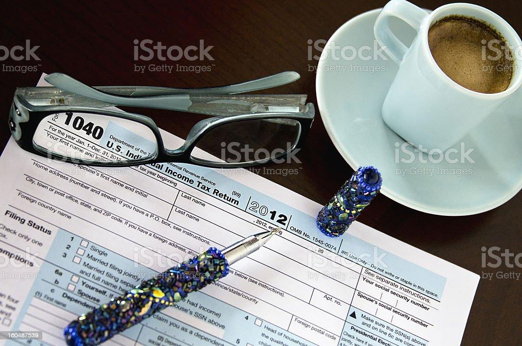 Espresso Tax Forms stock photo