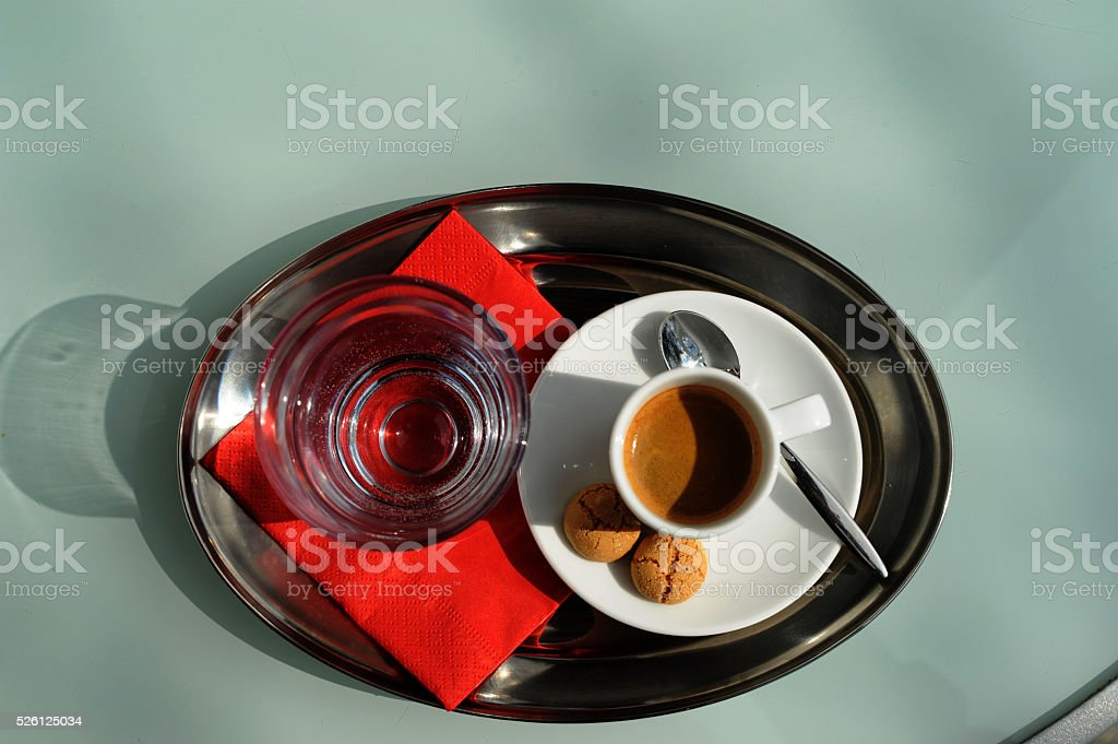 Espresso with cookie stock photo