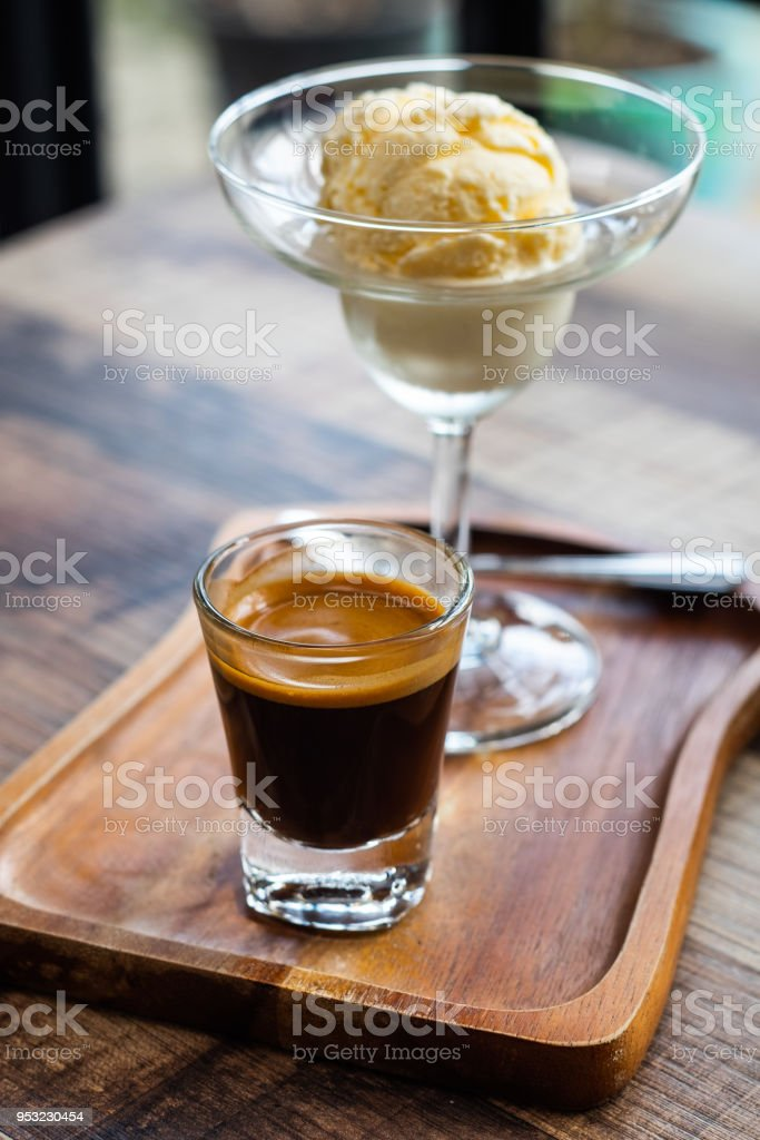 Espresso with vanilla ice cream. stock photo
