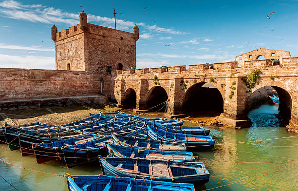 Essaouira port, Fishermans boats, Morocco, North Africa stock photo