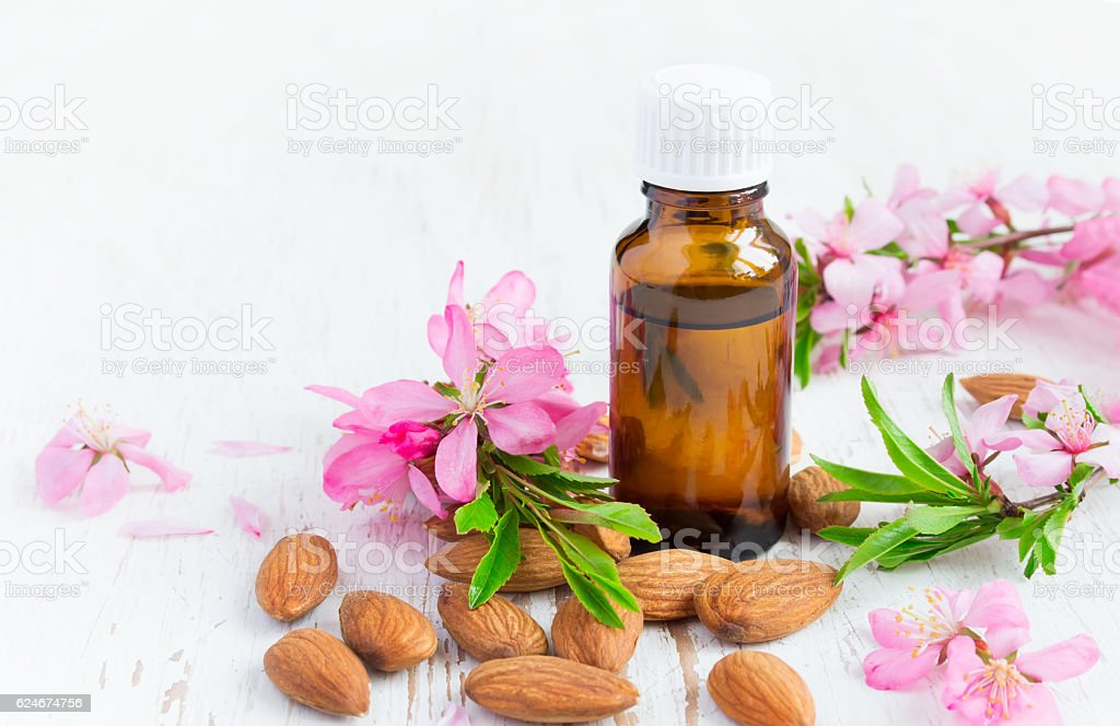 Essential almond oil, flowers and nuts on a white background stock photo